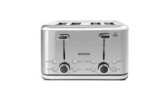 Brabantia Stainless Steel 4-Slice Bread Bagel Crumpet Toaster Reheat Defrost SLV