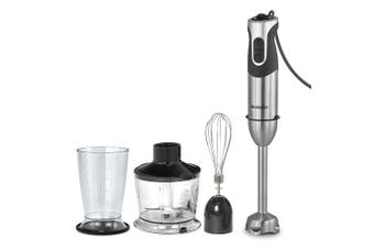 Brabantia 1000W Electric Hand Stick Blender w Beaker Whisk Chopping Bowl Silver