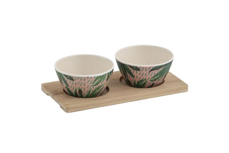3pc Bouffants & Broken Hearts Tropical Envy Bamboo Fibre Serving Bowls w  Tray