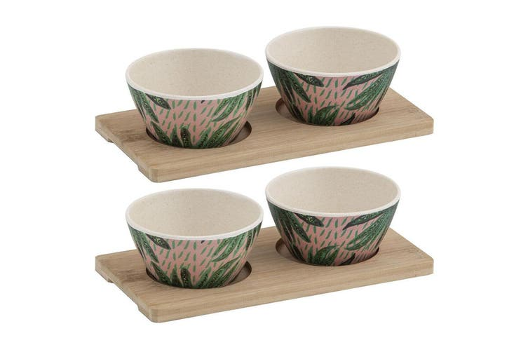 6pc Bouffants & Broken Hearts Tropical Envy Bamboo Fibre Serving Bowls w  Tray