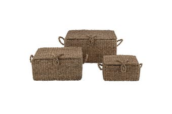 3pc Amalfi 30 40 50cm Valetta Trunks Home Storage Box Organiser Natural Weave