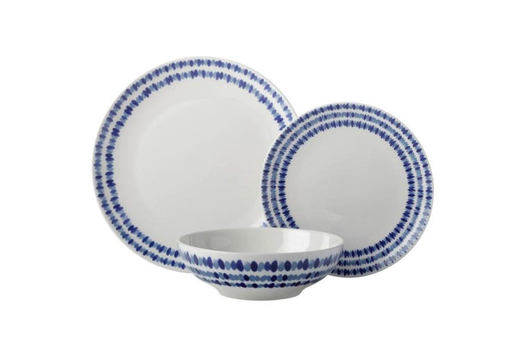 12pc Casa Domani Oceanic Round Coupe Porcelain Dinner Plate Bowl Set Gift Boxed