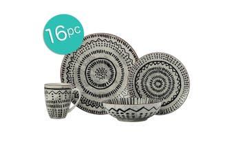 16pc Casa Domani Casual Togo Porcelain Mugs Bowls Dinner Side Plates White Set