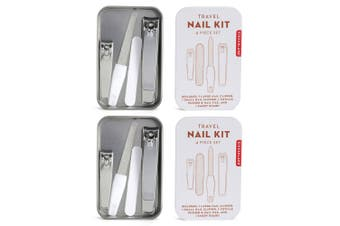 8pc Kikkerland Travel Nail Care Kit w Clipper File Cuticle Manicure Pedicure SL