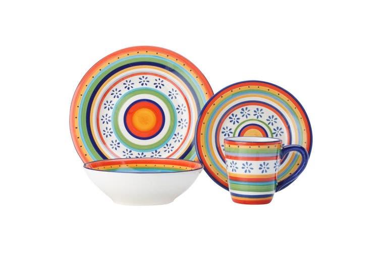 Casa Domani Ipanema 16 Piece Dinner Dining Kitchen Bowls Mug Plate Ironstone Set