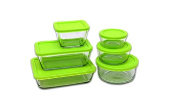 12pc Kitchen Classics Glass Storage Food Container Set w  Lid BPA Free Clear GRN