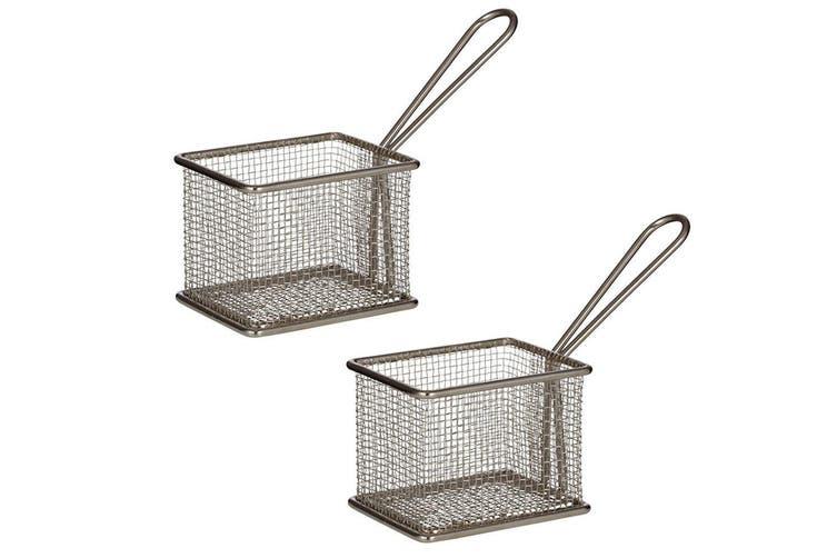 2PK Davis & Waddell Taste Bistro Rectangular Serving Basket Small 9.5cm Metal