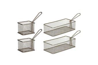 Davis & Waddell 4 Set Taste Bistro Serving Basket Small Medium Metal Tableware