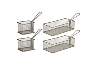Davis & Waddell 4 Set Taste Bistro Serving Basket Small Medium Metal Tableware
