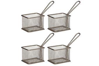 4PK Davis & Waddell Taste Bistro Rectangular Serving Basket Small 9.5cm Metal