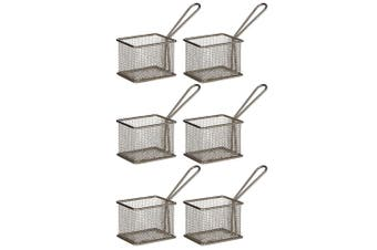 6PK Davis & Waddell Taste Bistro Rectangular Serving Basket Small 9.5cm Metal
