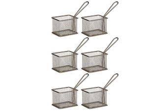 6PK Davis & Waddell Taste Bistro Rectangular Serving Basket Small 9.5cm Metal