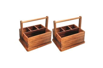 2x Wooden BBQ Caddy 4 Compartment Picnic Camp Cutlery Rack Holder Organiser