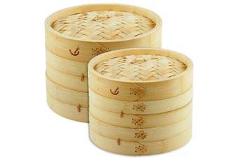 Davis & Waddell 26cm & 20cm 2 Tier Asian Bamboo Dumpling Dim Sum Food Steamer