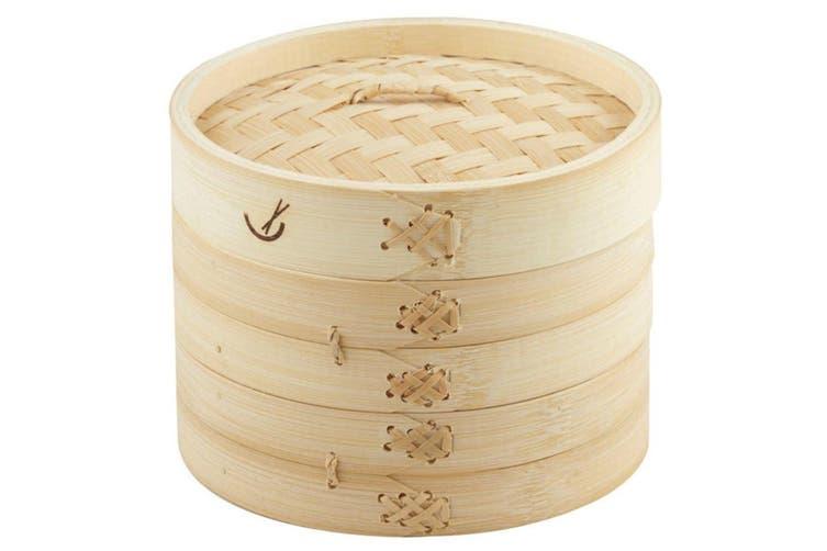 Davis & Waddell 17.5cm 2 Tier Asian Bamboo Dumpling Dim Sum Vegetable Steamer