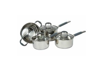 4pc Davis & Waddell Essentials Argon Cookware Saucepan Steamer Set w  Glass Lids