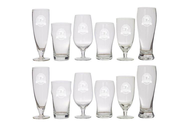 Maverick 12pc Beer Connoisseur Glass Set Pint Pilsner Lager Glass Cup Barware