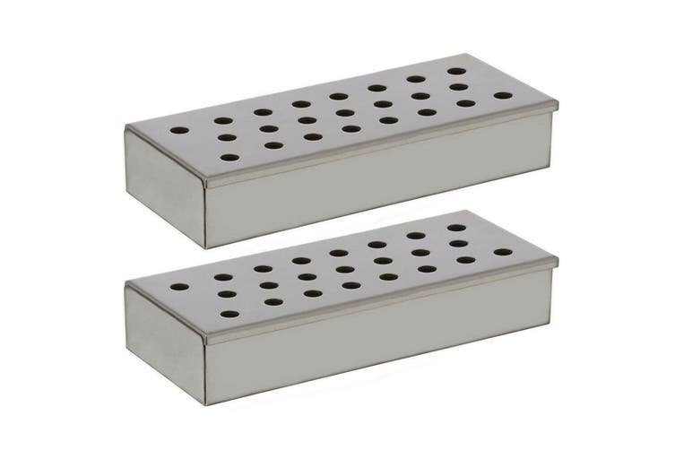 2x Woodchip Stainless Steel BBQ Smoke Wood Chip Smoker Grill Cooking Infuse Box