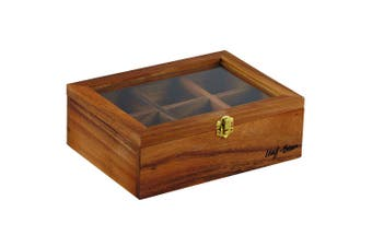 Leaf & Bean 25x18.5cm Acacia Wooden Tea Leaves Bag Box Storage w  6 Compartments