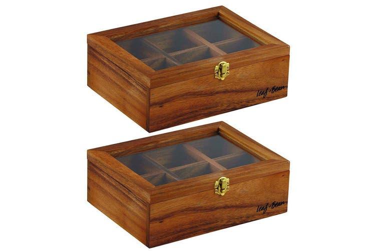 2PK Leaf & Bean 25cm Acacia Wooden Tea Leaves Bag Box Storage w  6 Compartments