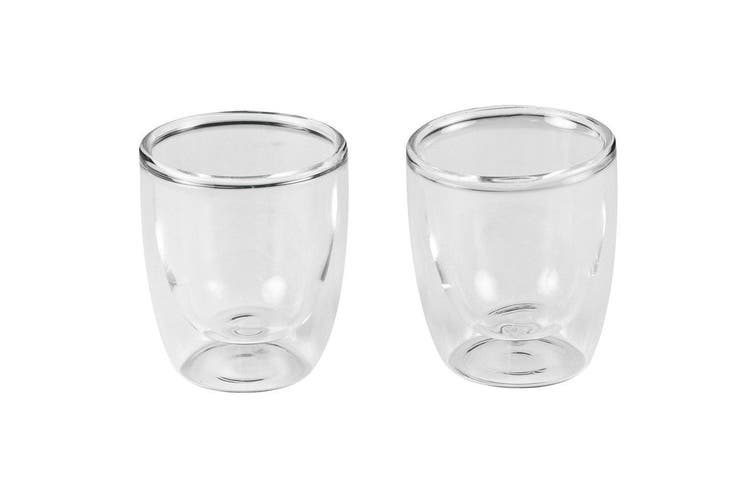 2pc Leaf & Bean 80ml Double Wall Espresso Coffee Tea Hot Cold Drinking Glass Cup