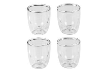 4pc Leaf & Bean 80ml Double Wall Espresso Coffee Tea Hot Cold Drinking Glass Cup