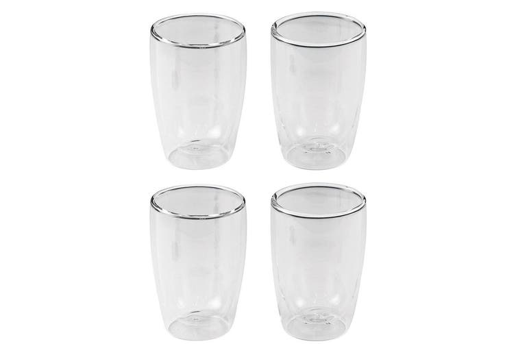 4PC Leaf & Bean 280ml Double Wall Espresso Coffee Tea Hot Cold Drinking Glass