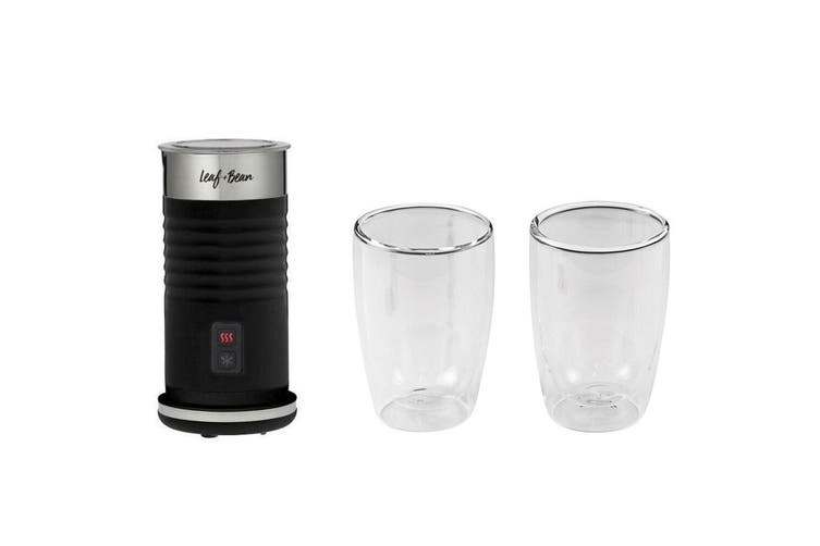Leaf & Bean 240ml Electric Milk Frother & 2x 280ml Double Wall Drinking Glasses