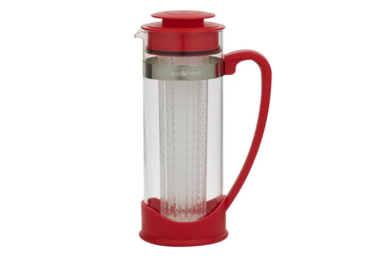 Leaf & Bean Lisbon 1.5L Iced Tea Jug Acrylic Infuser Tube Water Pitcher Red