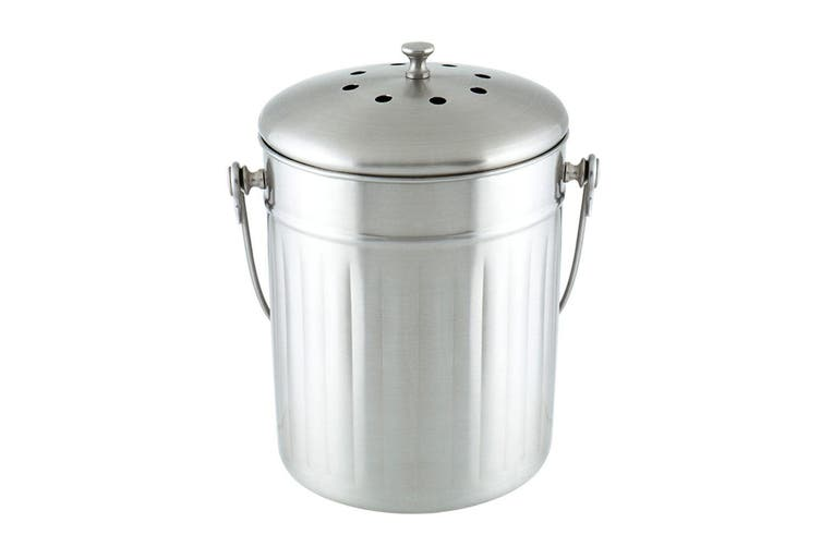 5L Stainless Steel Compost Waste Scrap Trash Kitchen Canister Bucket Bin