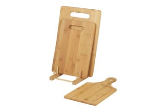 Davis & Waddell 3pc Bamboo Cutting Chopping Board w  Stand Kitchen Preparation