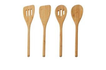 Davis & Waddell Essentials 4PC Bamboo Wooden Cooking Utensils Spatula Spoon