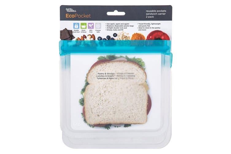 2PK Davis & Waddell 21.5cm Sandwich Reusable Bag Ecopocket Toiletry Food Storage
