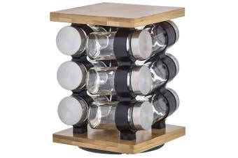 Davis & Waddell Romano 12pc Spice Rotary Jar Rack Bamboo Glass Kitchen Storage