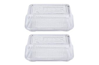 2PK Davis & Waddell Retro 17cm Butter Dish Glass Storage Serving Container Clear