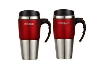 2PK Thermos Cafe 450ml Vacuum Stainless Steel Hot Cold Travel Mug Flask Red
