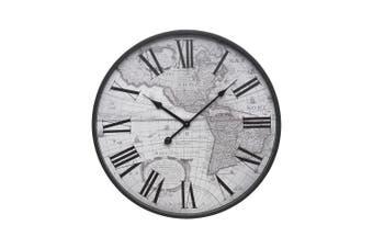 Degree 45cm Round Quartz Vintage Atlas Wall Clock Maps Home Decor Arabic Numbers