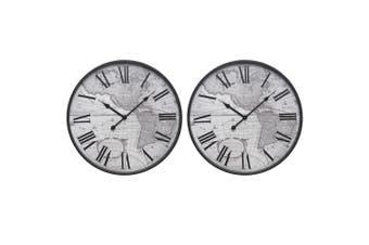 2x Degree 45cm Round Quartz Vintage Atlas Wall Clock Home Decor Arabic Numbers