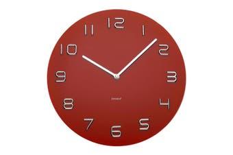 Degree 35cm Glass Round Quartz Wall Clock Chrome Home Decor Arabic Numbers Red