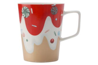 Maxwell & Williams 450ml Frosting Cool Mug Cup Glass for Hot Cold Coffee Tea Red