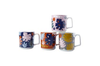 4pc Maxwell & Williams Monstera 360ml Mugs Drinking Glasses Cups for Coffee Tea