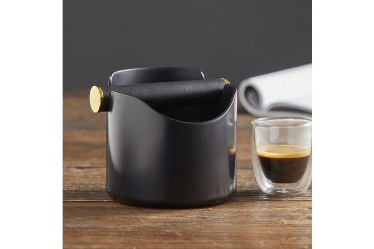 2PK Leaf & Bean 12cm Ibiza Durable Shock Absorbent Coffee Knock Box Bin BLK GLD