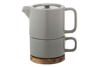 Leaf & Bean Stoneware Soren Tea for One w 400ml Teapot Infuser 250ml Cup Grey