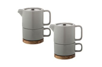 2x Leaf & Bean Stoneware Soren Tea for One w 400ml Teapot Infuser 250ml Cup Grey