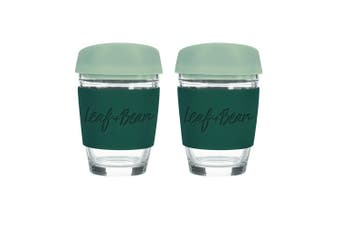 2x Leaf+Bean Sorrento 340ml Eco-Friendly Glass Reusable Travel Cup w Plug Green