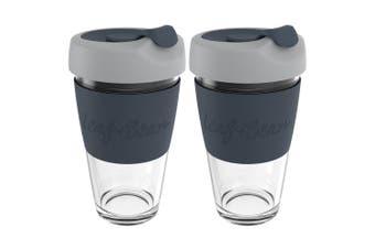 2x Leaf+Bean Sorrento 454ml Eco-Friendly Glass Reusable Travel Cup w Plug Black