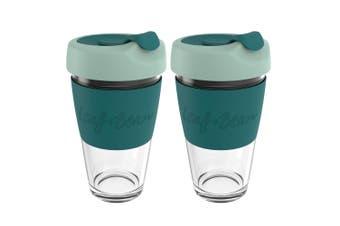2x Leaf+Bean Sorrento 454ml Eco-Friendly Glass Reusable Travel Cup w Plug Green