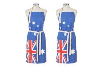 2x Maverick Australian Flag Cotton Denim Barbecue Cooking Kitchen Chefs Apron BL