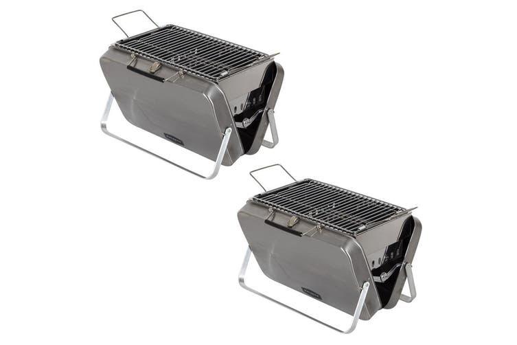 2PK Maverick Into The Wild BBQ Briefcase Portable Outdoor Charcoal Grill Black