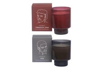 2PK David & Waddel Soy Wax Blend Scented Fragrance Candle Jar Oud & Tobacco Leaf